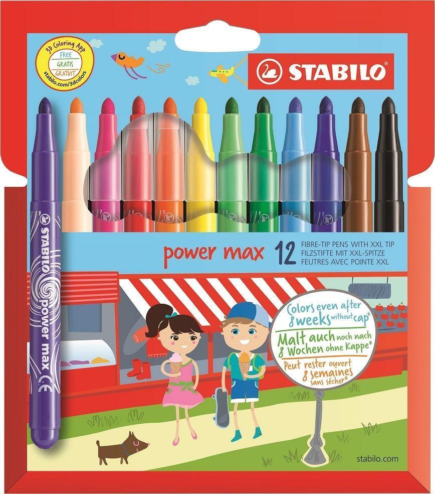 Stabilo Power 12 pointe fibre feutres 12 Pack